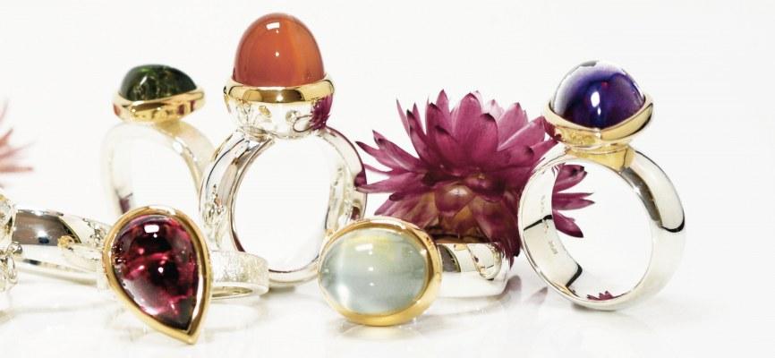 ECHELMEYER - RING © in 750/- Gelbgold 925/- Silber mit Farbsteinen